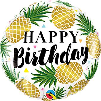 Qualatex 18in Birthday Golden PineappleFoil Balloon