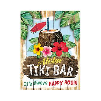 Tiki Bar Happy Hour Nostalgic Metal Magnet - Cracker Filler Gift