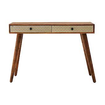 Premier Haushaltswaren Boho 2 Schublade Konsole Tisch Akazien Holz Home Decor 110 cm