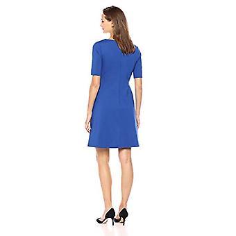 Brand - Lark & Ro Women's Half Sleeve Twist Front A-Line Ponte Dress, Cobalt, 8