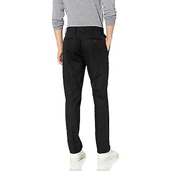 Brand - Goodthreads Men's Straight-Fit Wrinkle-Free Comfort Stretch Dress Chino Pant, Black Pinstripe 36W x 30L
