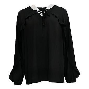 Belle Kim Gravel Women's Top Tie Front Ruffle V-Neck Blouse Black A343334