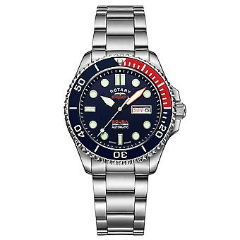 """Rotary Super 7 SCUBA """"Pepsi"""" Automatic Navy Blue Dial Silver Stainless Steel Bracelet Men's Dive Watch S7S004B"""