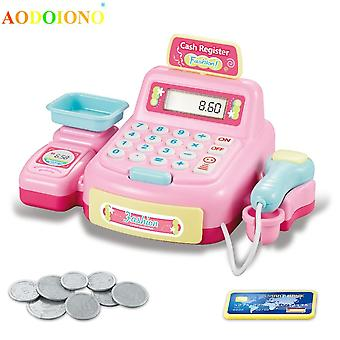 Educational Cash Register Toy- Diy Interaction Supermarket Light Sound Simulation Gifts Boys Girls Pretend Play Kids Children