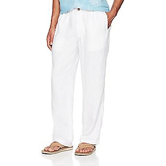 28 Palms Men's Relaxed-Fit Linen Pant with Drawstring, Bright White, Large/34...