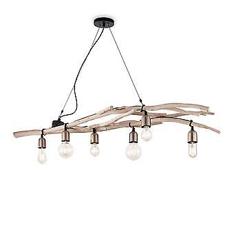 Ideal Lux Driftwood - 6 Light Pendant Bar Light Wood, E27
