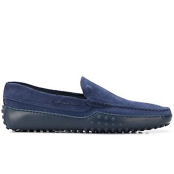 Tod's Ezcr072003 Men's Blue Suede Loafers