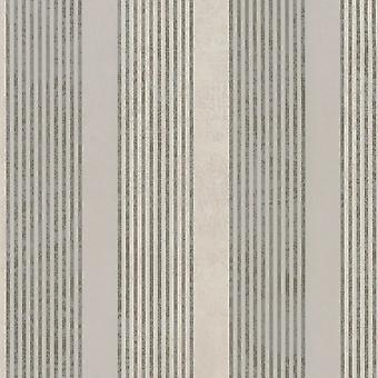 Marburg Wallcoverings Marburg Rae Stripe Pattern Taupe Silver Wallpaper Marble Motif Modern Embossed Metallic