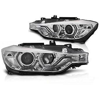 Koplampen dagrijlicht BMW F30/F31 10 11 - 05 15 ANGEL EYES LED CHROOM DRL