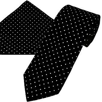Corbatas Planet Oro Etiqueta En blanco y negro Polka Dot Impreso Hombres de Seda & Bolsillo Cuadrado Set