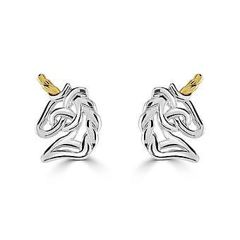 Heritage sterling sølv keltiske skapninger enhjørning gull plate øredobber 4259GD