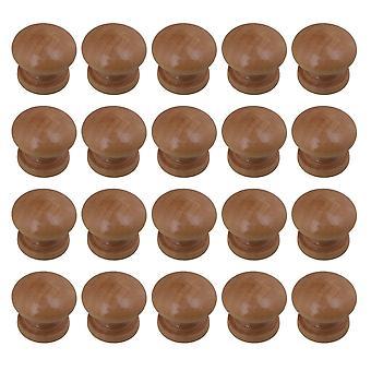 20Pcs Wooden Cabinet Knobs  Mushroom Head Closet Handles 2.4x2.1cm