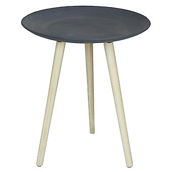 Charles Bentley Round Concrete Effect Side Table in Grey with 3 Pine Wooden Legs Scandi Style Coffee Sofa End Bedside Stand