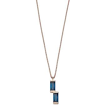 Fiorelli Silver Womens 925 Sterling Silver Baguette Blue Nano Crystal & Rose Gold Hanger Ketting van lengte 41cm + 5cm