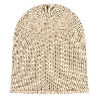 Johnstons of Elgin Roll Trim Jersey Hat - Natural Beige