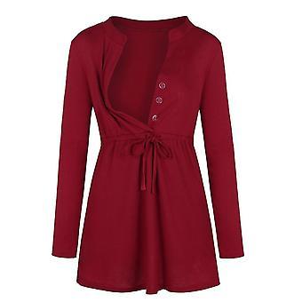 נשים יולדות חולצת טריקו שרוול ארוך צבע אחיד סיעוד צמרות להנקה