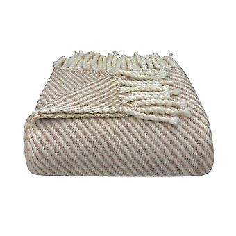 Camel Stripe Alpaca Throw Blanket