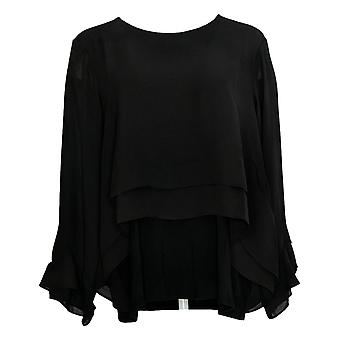 Lisa Rinna Colección Mujer's Top Flounce Blusa de manga larga negro A341715
