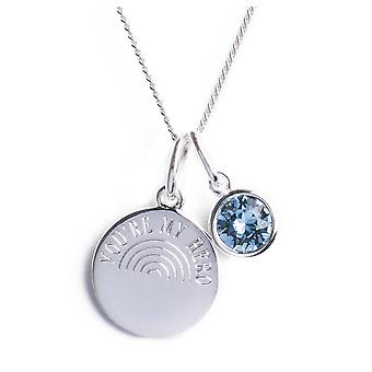 Inizia 925 Silver You're My Hero Engraved Rainbow Disc & Blue Crystal di Swarovski® collana con sacchetto di presentazione