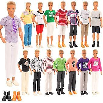 Miunana lot 8 kleding voor pop = 3 sets casual wear + 3 pc's broek +2 schoenen voor jongenspop (random styl