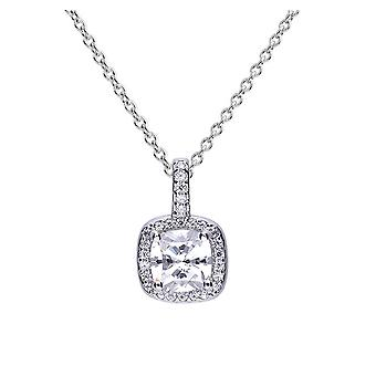 Diamonfire 925 Sterling Silver Square Pave Set Cubic Zirconia with White Stone Cluster Surround Necklace 41-46cm