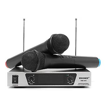Weisre WM-09V VHF Wireless 2 Channel Dual Handheld KTV Karaoke Home Party Microphone System