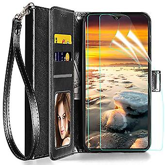 Axiay Samsung Galaxy A10e case Galaxy A20e Wallet Case w 2 PCS HD Screen Protector,Leather with ID Credit Card Slot Holder Flip Cover Stand Magnetic Closure Shockproof Protective Flip Case ,Black