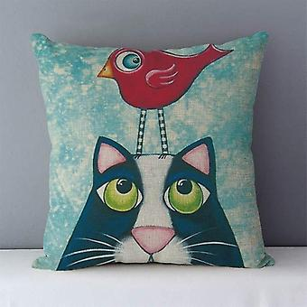 Couch Cushion Cartoon Printed Quality Cotton Linen Home Decorative Pillows