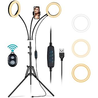 """8"""" Double Ring Lights with Stand, 360Desktop Led Beauty Lights"""