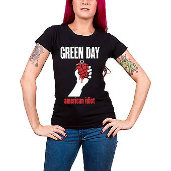 Green Day T Shirt American Idiot Heart new Official Womens Skinny Fit Black