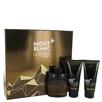 Leggenda di Montblanc notte regalo Set di Mont Blanc 3,3 oz Eau De Toilette Spray + 3,3 oz balsamo dopobarba + 3,3 oz Gel doccia