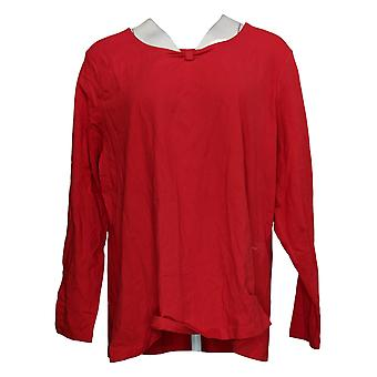 Denim & Co. Women's Top Plus Jersey Ruched Front Long Sleeve Red A397934