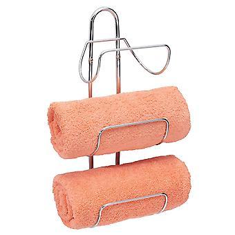 mDesign Metal 3-Tier Wall Mount Towel Rack Holder and Storage Organizer