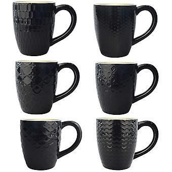 Amazon Brand - DZK 6 Pack Ceramic Coffee Mugs with 6 Different Artistic Patterns, 400 ml Black Tea