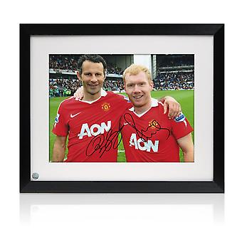 Paul Scholes And Ryan Giggs Signed Manchester United Photo. Framed