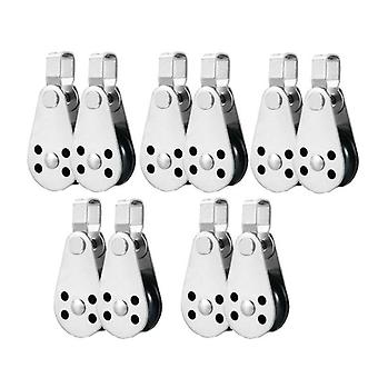 10 Pcs Marine Boat Pulley Blocks Rope Stainless Steel Canoe Anchor Trolley Kit