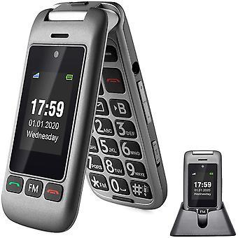 HanFei 2G/3G Ohne Vertrag Senior Flip-Handy, Senior-Telefon mit Ladestation fr ltere Menschen,