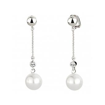 Traveller Clip Earring - Hanging - White Pearl - Rhodium Plated - 114140 - 404