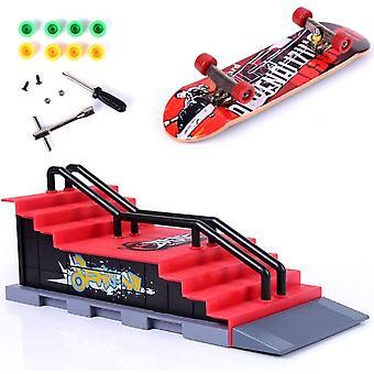 HanFei Mini Finger Skateboard Deck Truck Board mit Rampe Zubehr Sets Fingerboard Skatepark Spielzeug