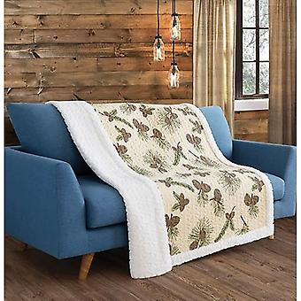 Spura Home Tropical Forest Pines Transitional Quilted Sherpa Throw