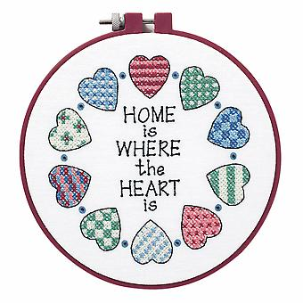 Dimensions Learn-a-Craft: Stamped Cross Stitch Kit with Hoop: Home and Heart