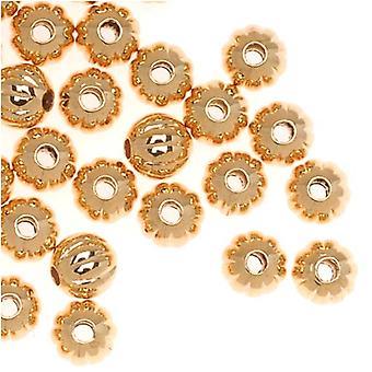Aidot 22K kullatut aallotettu aallotettu pyöreä metalliset nastat 4mm (100)