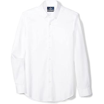 """BUTTONED DOWN Men's Tailored Fit Button-Collar Solid Non-Iron Dress Shirt (No Pocket), White, 16"""" Neck 32"""" Sleeve"""