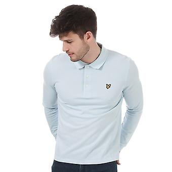 Men's Lyle And Scott Long Sleeve Polo Shirt in Blue