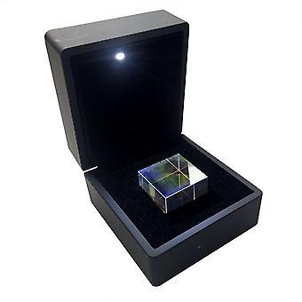 Würfel aus optischem Glas, Prisma mit Box, Maße 2,3 x 2,3 x 2,3 cm, für Lehrzwecke oder zur
