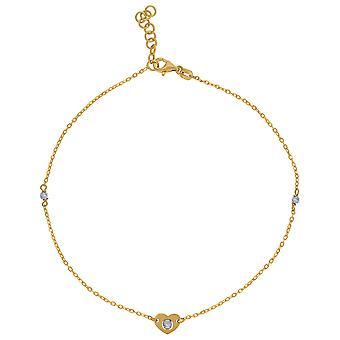14k Zwei-Ton Gold Frauen poliert Finish strukturierte Liebe Herz Perlen Fußkettchen Schmuck Geschenke für Frauen