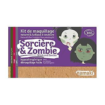 """Organic """"Witch & Zombie"""" 3-color makeup kit 1 unit"""