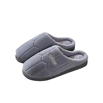 Gray 44-45 thick comfortable soft warm football pattern couple slippers-male homi2552