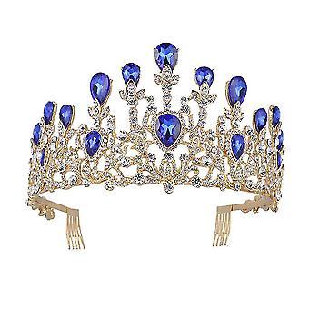Luksus Kroner Brude Tiaras Barok Vintage Gold Rhinestone Crystal Crown med Comb Bryllup Hair
