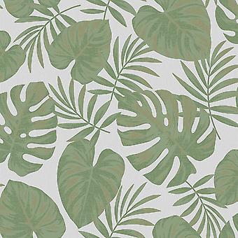 Holden Decoración Riviera Hoja Gris Verde Wallpaper 75913